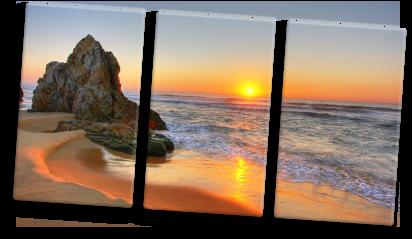 Foto su tela trittico_esempio tramonto spiaggia