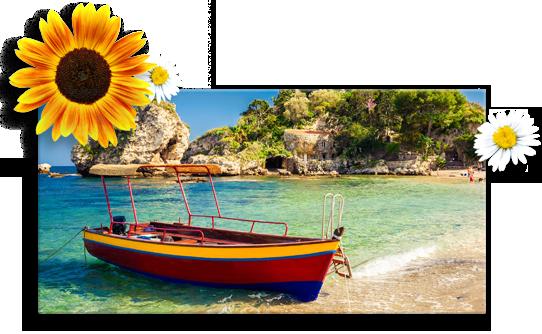 Idee foto su tela panorama_esempio barca con fiori