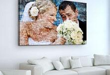 Mosaico su tela sopra divano_esempio coppia matrimonio