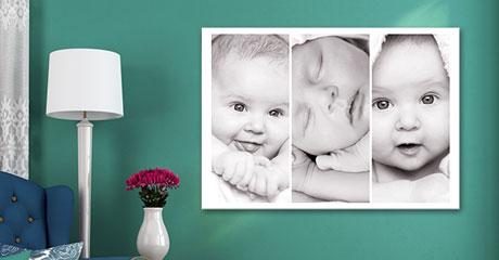 Soggiorno collage su tela_esempio baby