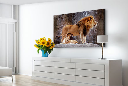 Soggiorno tela_esempio leone e cucciolo