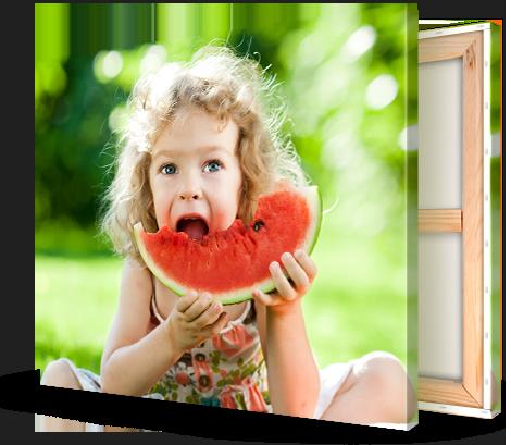Stampa su tela_esempio bambina mangia anguria