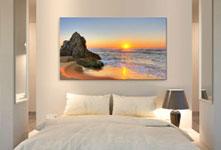 foto su tela panorama sopra letto_esempio tramonto