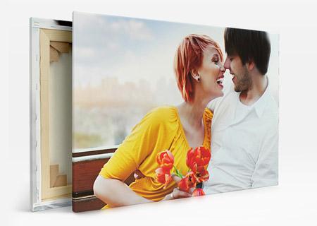 foto su tela_esempio coppia con fiori