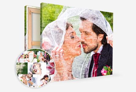 mosaico sposa e sposo tela vista