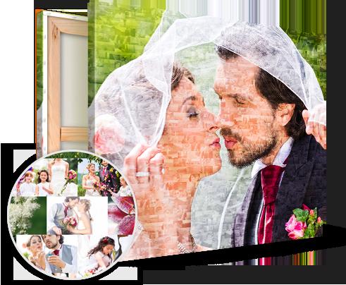 mosaico su tela_esempio sposi e dettaglio