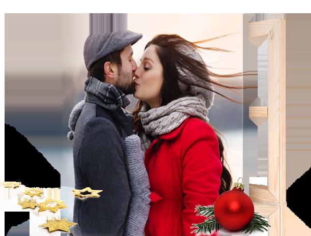 natale landing page coppia che si bacia su tela