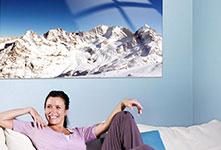 soggiorno panorama su tela_esempio Alpi