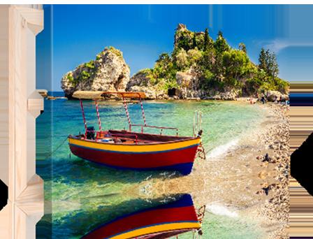 tela formato panorama_esempio spiaggia con barca